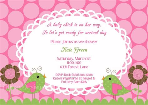 baby girl shower invitations free templates all
