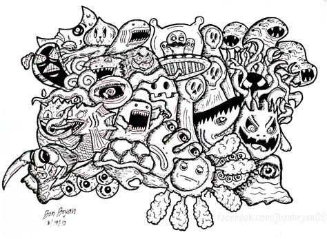 doodle monsters doodle art doodling adult coloring pages