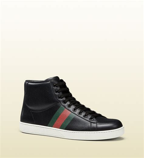 gucci high top sneakers for gucci perforated leather high top sneaker in black for