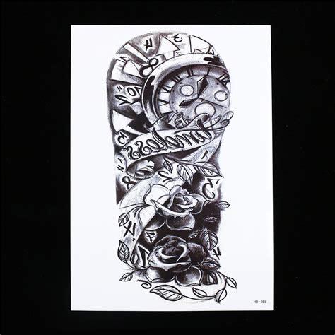 Hb674 Tatto Temporer Stiker 1 sheet black decal flower arm cool hb458 temporary skull clock