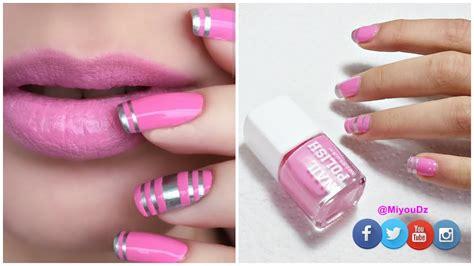 nail art design yagala nail art pintado de u 209 as con cinta adhesiva muy f 193 cil