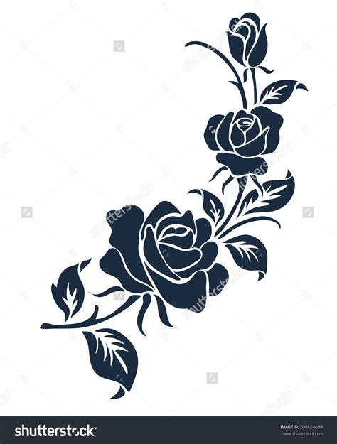rose motif flower design elements vector 209824699
