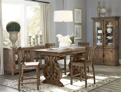 Magnussen Dining Room Furniture Willoughby Weathered Barley Counter Height Extendable Dining Table From Magnussen Home Coleman