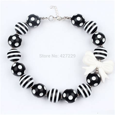 black and white bead necklace 1pc black and white polka dot bubblegum bead necklace