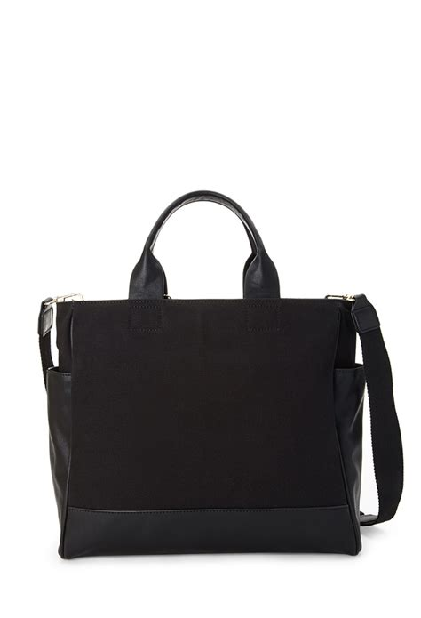 Aproncelemek Canvas And Synthetic Leather Black lyst forever 21 canvas faux leather tote in black