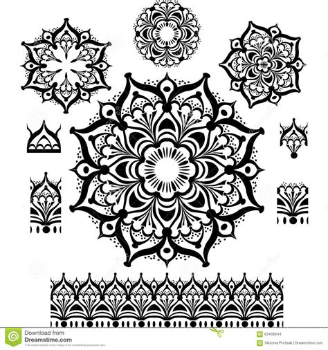 pattern brush c round ornament pattern with pattern brush stock photo