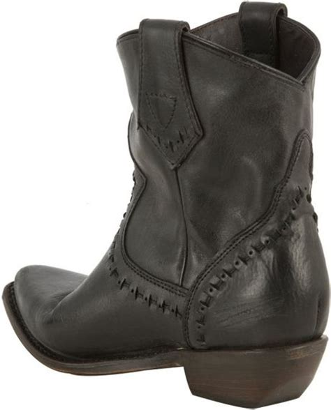 ash black distressed leather cowboy boots in black