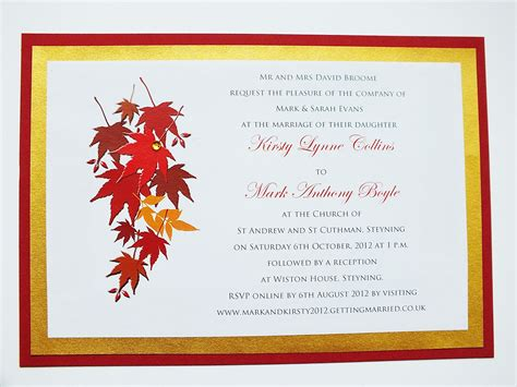Fall Theme Wedding Invitations by Autumn Wedding Invitations Autumn Themed Wedding Invite