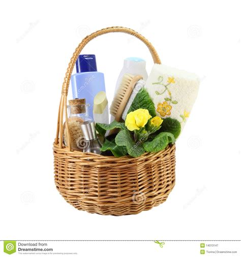 Bathroom Basket Accessories Bath Accessories In The Basket Royalty Free Stock
