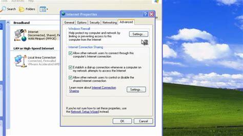 configure xp internet access windows xp firewall configuration on a shared internet