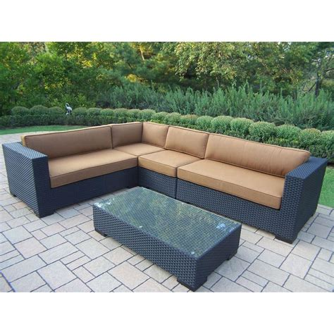 Patio Furniture Cushions Sunbrella Oakland Living Luxury All Weather Wicker Patio Sectional Set With Sunbrella Cushions Hd7718 14