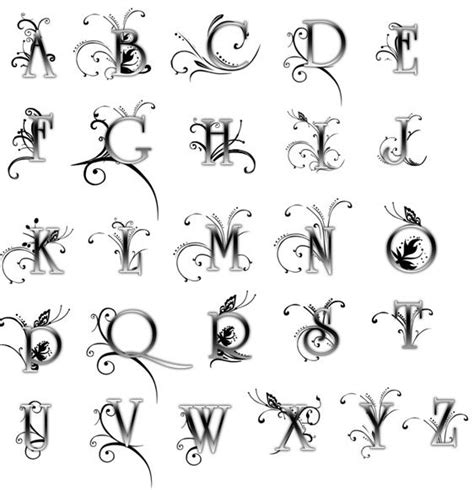 printable alphabet font designs beautiful fonts for tattoos girly alphabet letters