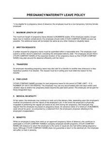 Sick Leave Policy Template by Pregnancy Leave Policy Template Sle Form Biztree