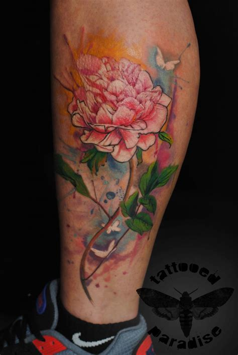 watercolor tattoo peony watercolor peony artist aleksandra katsan