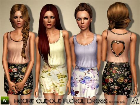 sims 3 teen clothes heart cut out floral dress for teen girls found in tsr