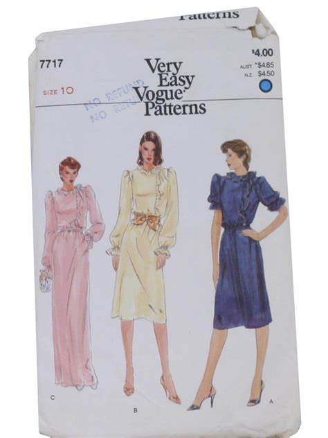 Instan Ruffle Non Pad 1980 s vintage vogue pattern no 7717 sewing pattern 80s
