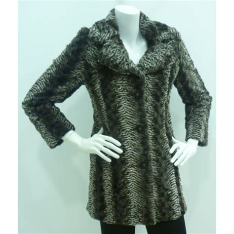 brown fur pattern chamonix brown pattern faux fur coat b513 buy chamonix