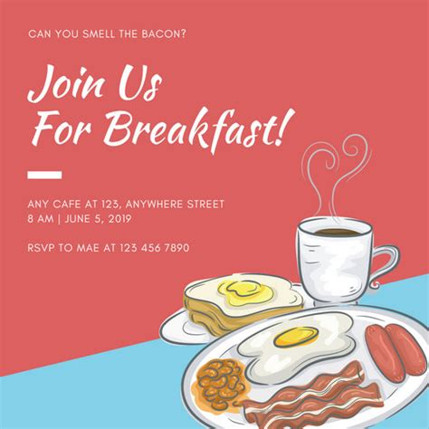 templates for breakfast invitations red simple breakfast invitation templates by canva