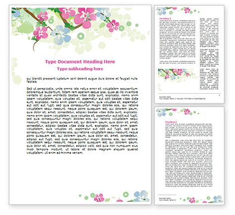 Spring Tree Theme Word Template 07710 Poweredtemplate Com Themed Word Template