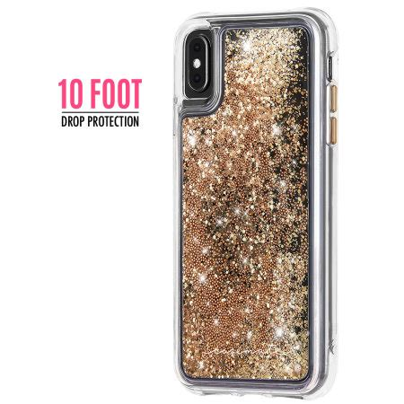 case mate iphone xs max waterfall glitter case gold