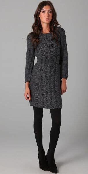 grey cable knit sweater dress tibi cable knit sweater dress in gray grey lyst