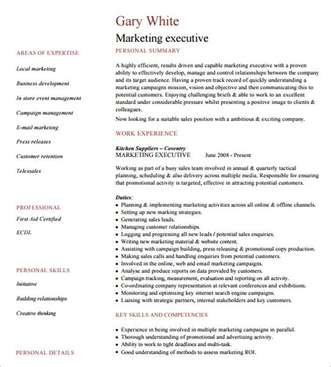 marketing executive cv template 24 best sle executive resume templates wisestep