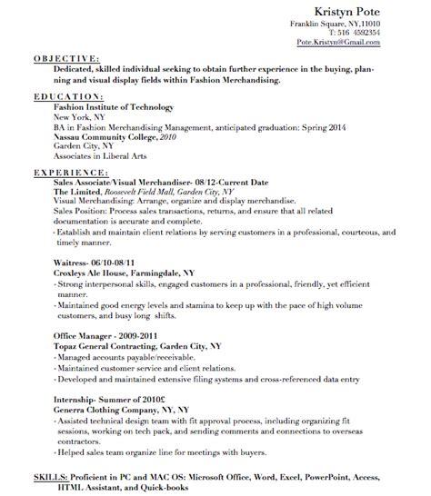 kristyn pote fashion merchandising student resume