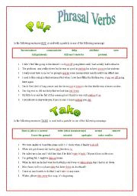 layout phrasal verb english worksheets phrasal verbs worksheets page 21