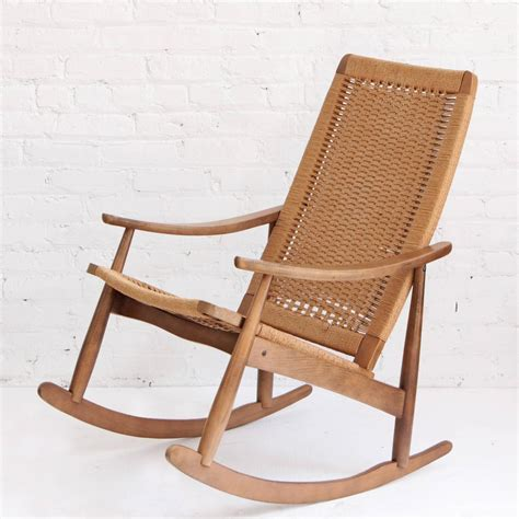 woven rocking chair woven rope mid century modern rocking chair and ottoman at