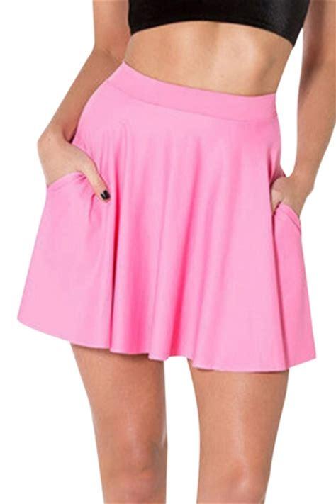 pink womens plain fashion pleated skirt pink