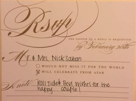how to sign a wedding response card nick saban respond to crimson tide fan s wedding
