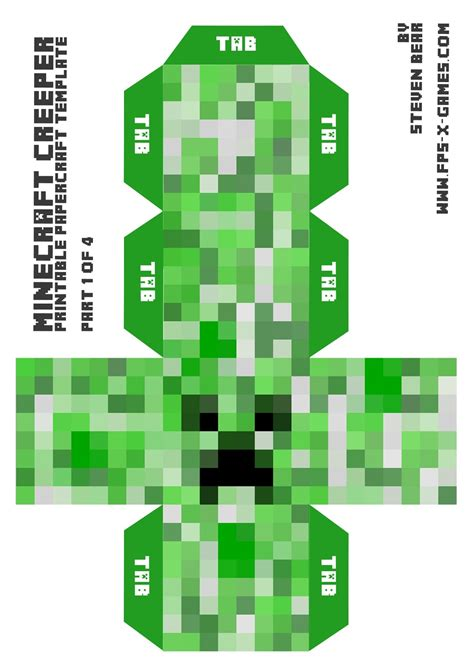 Minecraft Creeper Papercraft - minecraft skin pictures print big minecraft creeper