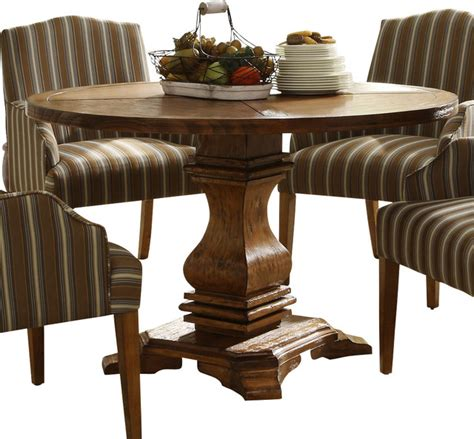 dining table houzz homelegance casual pedestal dining table in rustic weathered traditional dining