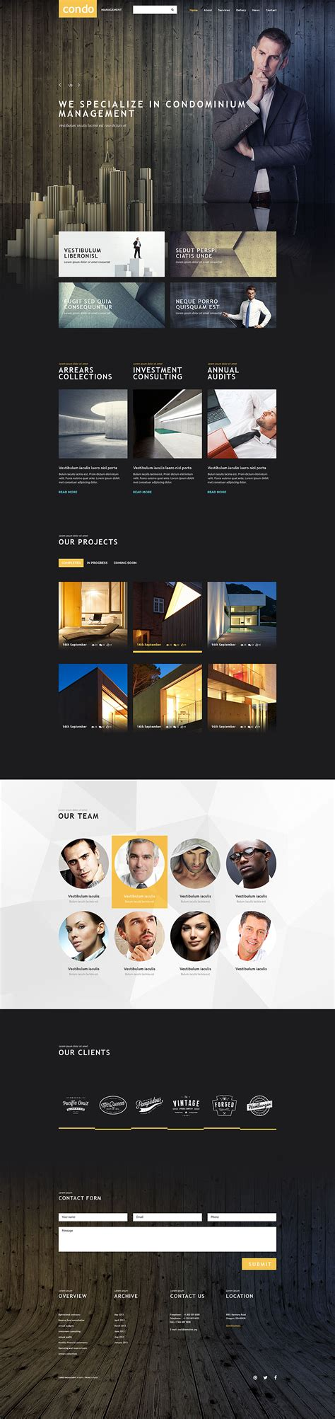 Condo Management Responsive Website Template With Parallax Carousel Condo Website Templates