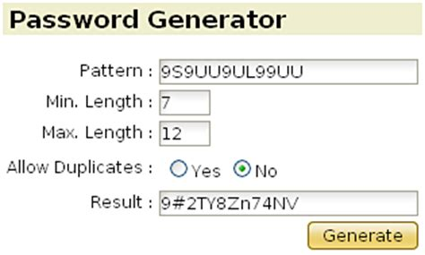 Pattern Password Generator | random password generator with pattern string support