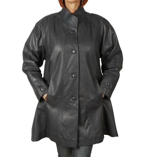 leather swing coat 3 4 length navy leather swing coat from simons leather