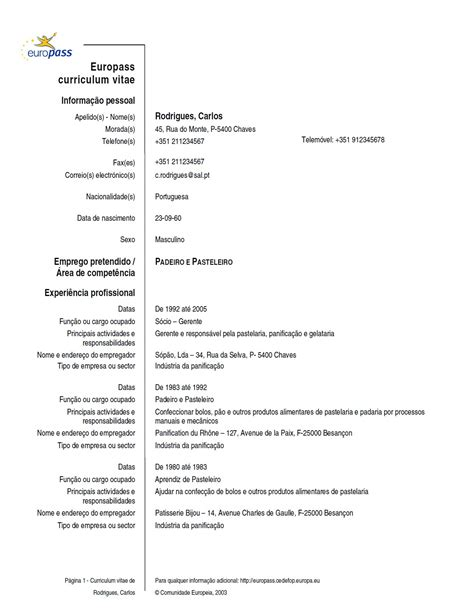 Formato Europeo Curriculum Vitae Tedesco Esempi Di Curricula In Portoghese Modello Curriculum