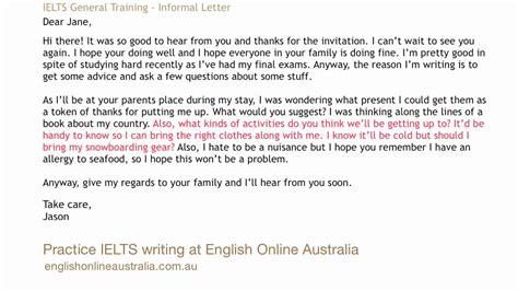 Introduction Letter Informal Ielts Writing Lesson 2 General Task 1 Informal Letter