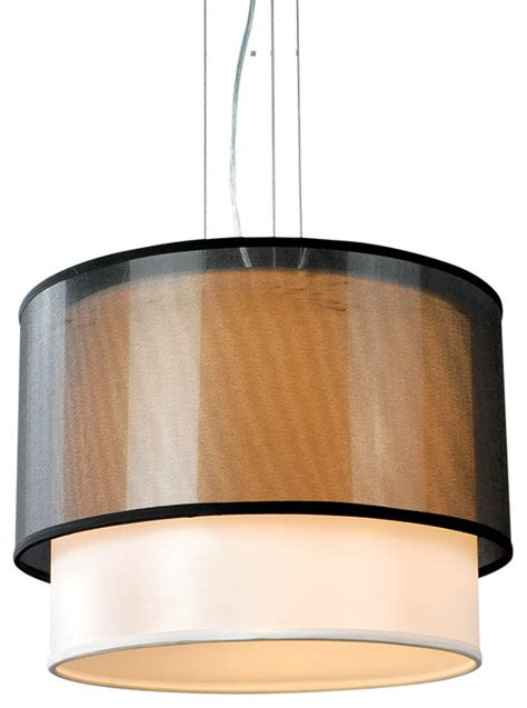 Drum L Shade With Diffuser by Two Tiers Drum Shade Acrylic Diffuser Modern Pendant