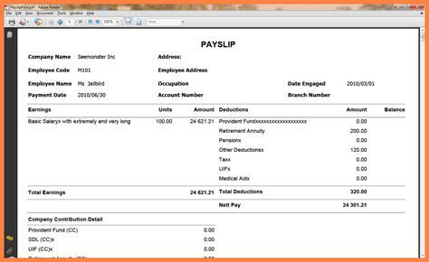 7 sle payslip pdf salary slip