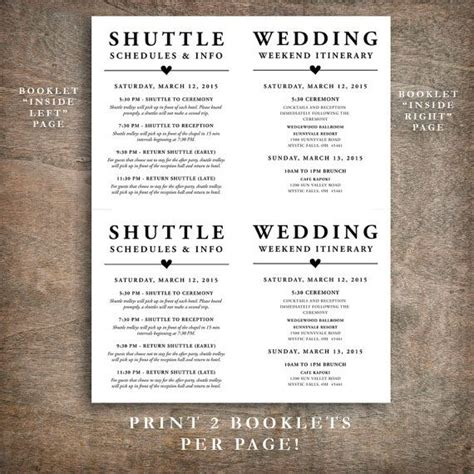 wedding itinerary template for guests printable wedding welcome bag booklet note itinerary