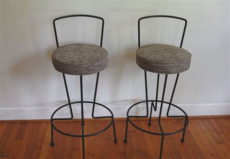 bar stools with fabric seat mid century wrought iron bar stool with round gray fabric