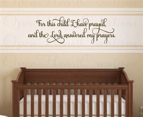 Nursery Quotes Wall Decals For This Child I Prayed Nursery Wall Decal Vinyl Wall Decal Quote Lettering Christian