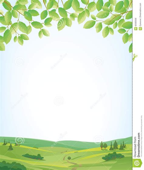 border design for environment springtime background with landscape and leaves border
