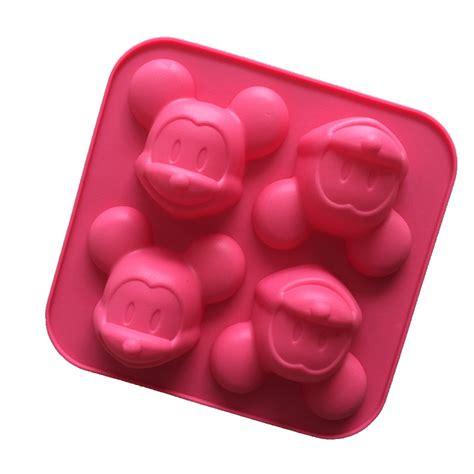 Mickey 4 Cavity 1 Mickey Mouse Mold 4 Cavities Silicone Cake Baking Mold