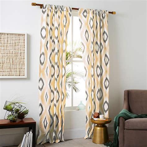 west elm ikat curtains cotton canvas ikat diamond curtain horseradish west elm