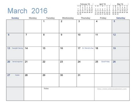 printable planner for march 2016 printable march calendar 2016 templates march 2016