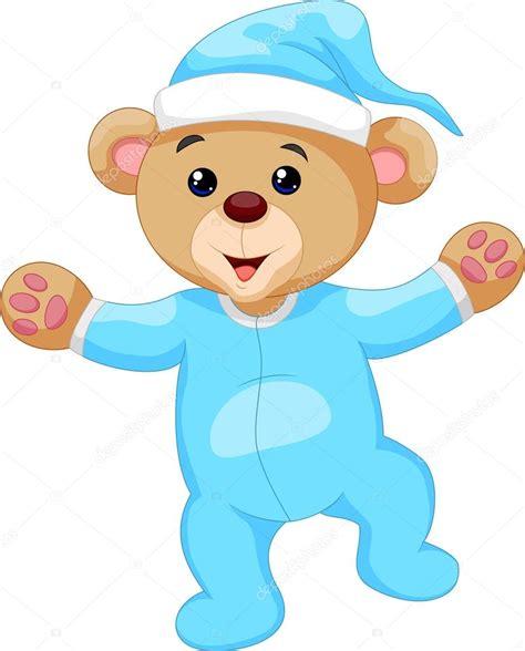 imagenes animados de osos oso de peluche de dibujos animados en pijama azul vector