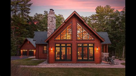 hybrid log lake home  dickinson homes youtube