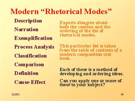 Rhetorical Mode Essay Exles by Modern Rhetorical Modes